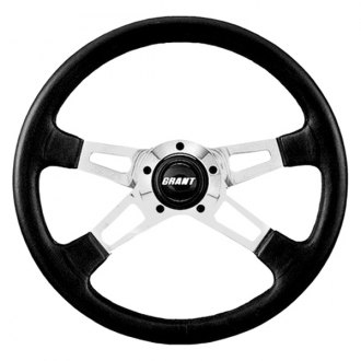 Grant® - 4-Spoke Polished Aluminum Design Collectors Edition Steering Wheel with Black Leather Grip