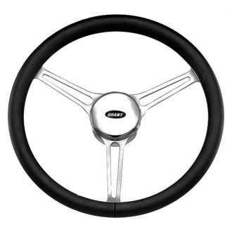 Grant® - 3-Spoke Polished Alcoa Aluminum Design Sprint 3 Model Steering Wheel with Black Hand Stiched Leather Grip