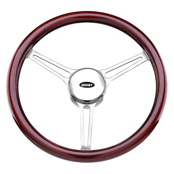 Grant® - 3-Spoke Polished Alcoa Aluminum Design Sprint 3 Model Steering Wheel with Mahogany Wood Grip