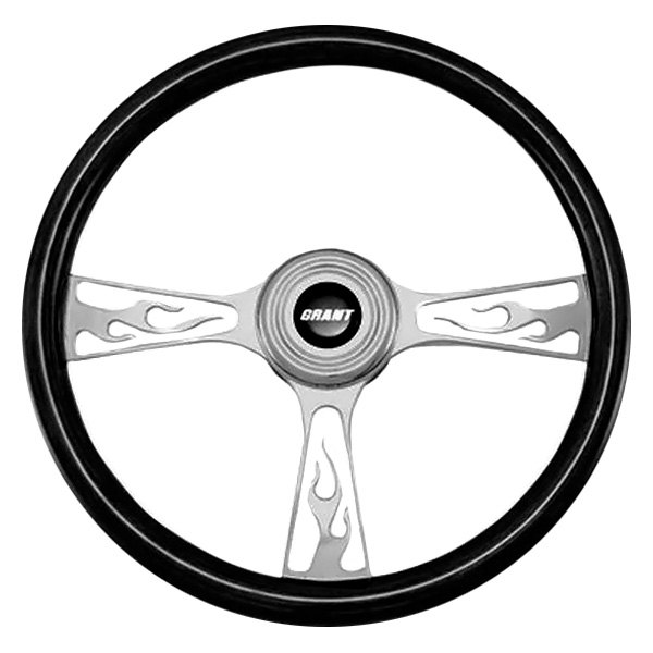 Grant® - 3-Spoke Polished Alcoa Aluminum Design Flame Model Steering Wheel with Black Hand Stiched Leather Grip