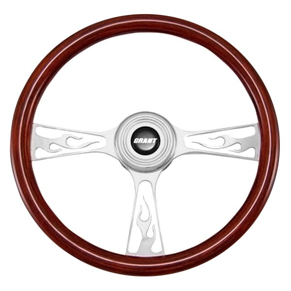 Grant® - 3-Spoke Polished Alcoa Aluminum Design Flame Model Steering Wheel with Mahogany Wood Grip
