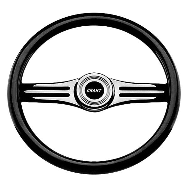 Grant® - 2-Spoke Black Anodized Alcoa Aluminum Design Two-Tone Model  Steering Wheel with Black Hand Stiched Leather Grip