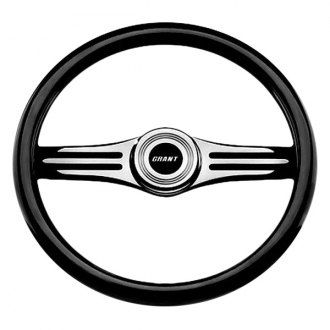 Grant® - 2-Spoke Black Anodized Alcoa Aluminum Design Two Tone Model Steering Wheel with Black Hand Stiched Leather Grip