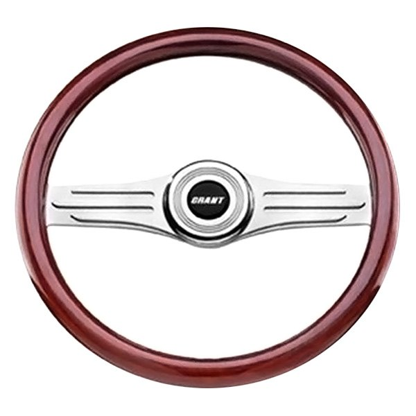 Grant® - 2-Spoke Polished Alcoa Aluminum Design Deluxe Signature Style Steering Wheel with Mahogany Wood Grip
