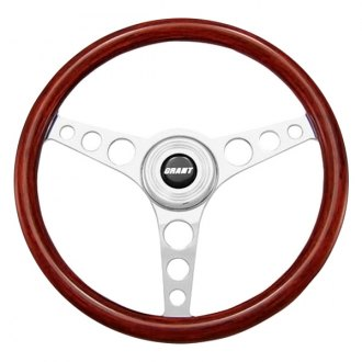 Grant® - 3-Spoke Polished Alcoa Aluminum Design Speed Model Steering Wheel with Mahogany Wood Grip