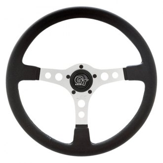 Grant® - 3-Spoke Silver Anodized Aluminum Design Formula GT Series Steering Wheel with Black Hand Stiched Leather Grained Vinyl Grip