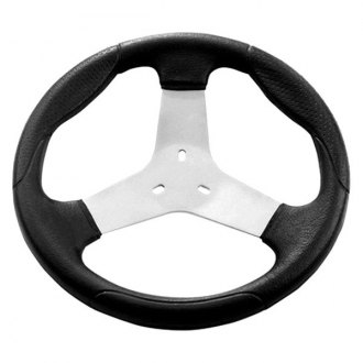 Grant® - 3-Spoke Kart Steering Wheel with Black Molded Polyurethane Grip and Leather Grain