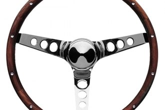 Grant® - 3-Spoke Polished Chrome Steel Design Classic Wood Style Steering Wheel with Walnut Hardwood Grip
