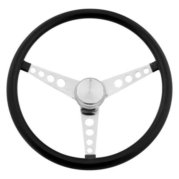 Grant® - 3-Spoke Silver Design Classic Style Steering Wheel with Black Vinyl Grip