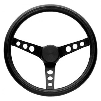 Grant® - 3-Spoke Black Powder Coat Steel Design Classic Style Steering Wheel with Black Cushioned Foam Grip
