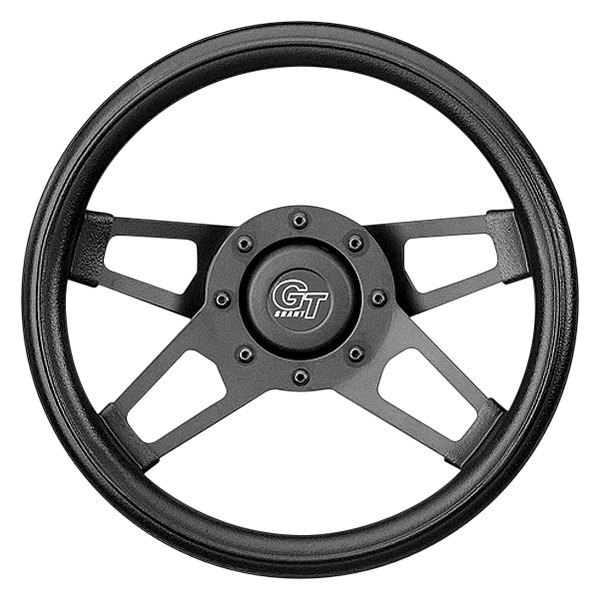 Grant® - 4-Spoke Black Powder Coat CRS Steel Design Challenger Style Steering Wheel with Black Cushioned Foam Grip