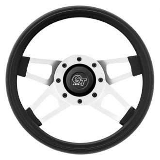 Grant® - 4-Spoke Silver Satin CRS Steel Design Challenger Style Steering Wheel with Black Cushioned Foam Grip