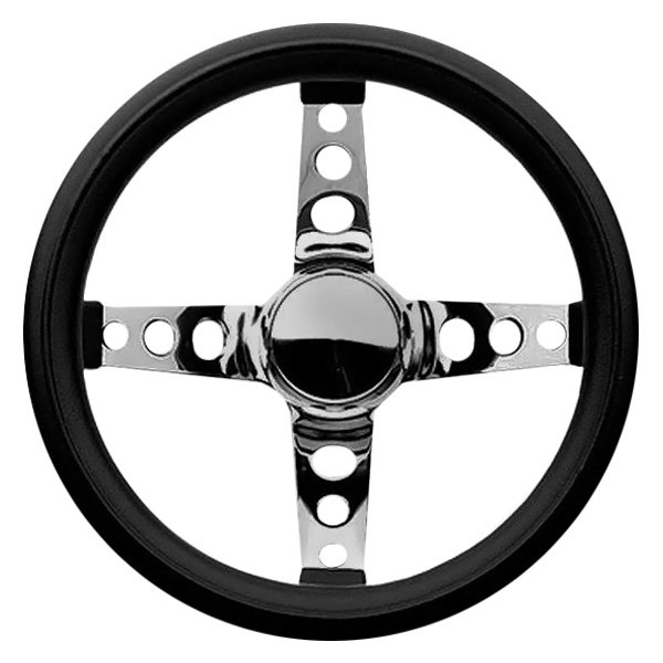 Grant® - 4-Spoke Chrome Steel Design Classic Series Steering Wheel with Black Cushioned Foam Grip