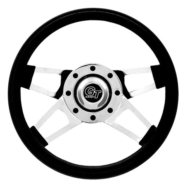 Grant® - 4-Spoke Chrome CRS Steel Design Challenger Style Steering Wheel with Black Cushioned Foam Grip