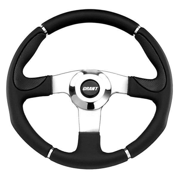 Grant® - 3-Spoke Polished Aluminum Design Club Sport Steering Wheel with Black Hand-Stiched Vinyl Grip