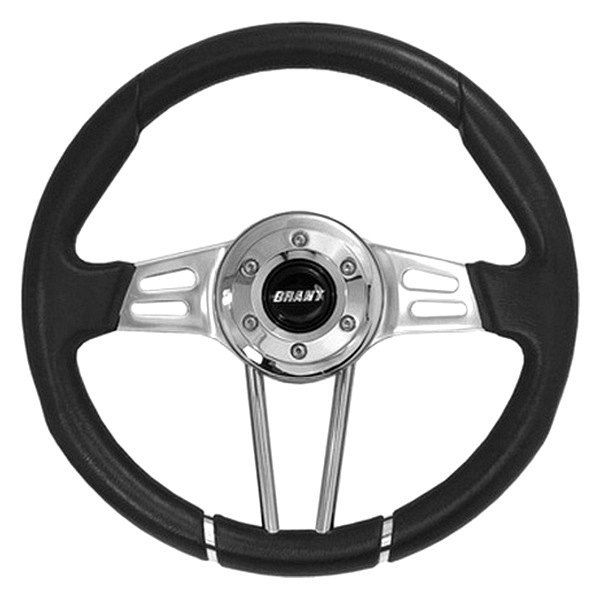 Grant® - 3-Spoke Polished Aluminum Design Club Sport Steering Wheel with Black Molded Polyurethane Grip