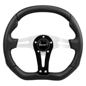 Grant® - 3-Spoke Aluminum Clear Anodized, Suede on the Vertical Spoke Performance and Race Series Steering Wheel with Black Perforated Leather in the Hand Grip