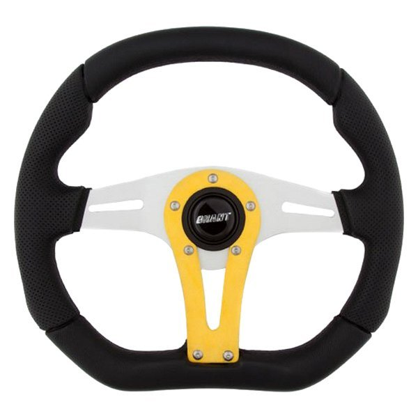 Grant® - 3-Spoke D Series Racing Steering Wheel with Yellow Accent Spoke