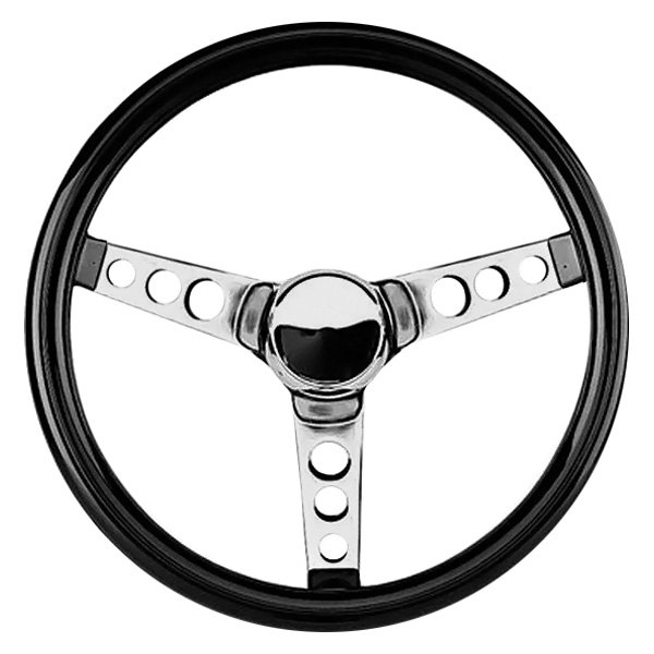 Grant® - 3-Spoke Chrome CRS Steel Design Classic Cruisng Series Steering Wheel with Black High Gloss Vinyl Grip