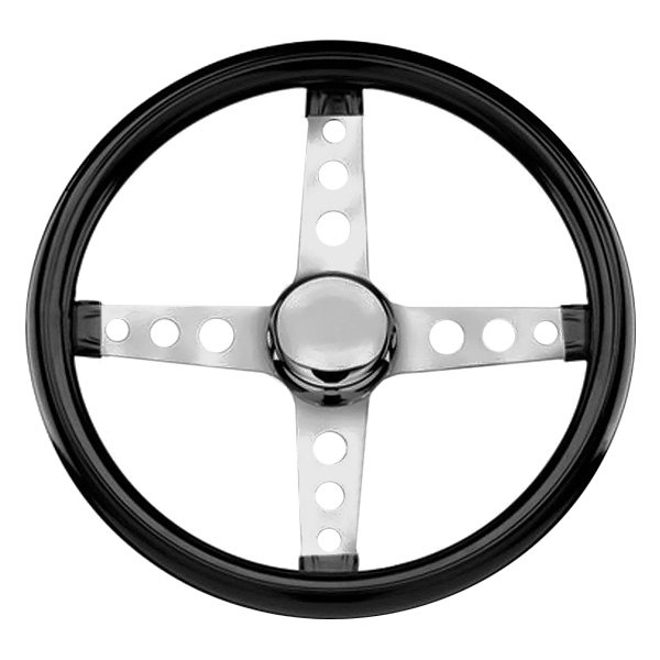 Grant® - 4-Spoke Chrome CRS Steel Design Classic Cruisng Series Steering Wheel with Black High Gloss Vinyl Grip