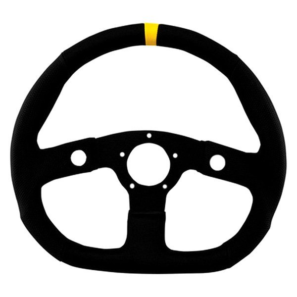 Grant® - 3-Spoke Black Anodized Aluminum Design Performance GT Series Steering Wheel with Black Hand Stiched Vinyl Diamond Grip and Yellow Top Marker