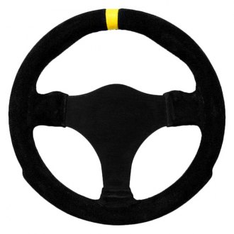 Grant® - 3-Spoke Black Anodized Aluminum Design Suede Series Steering Wheel with Black Suede Grip and Yellow Top Marker