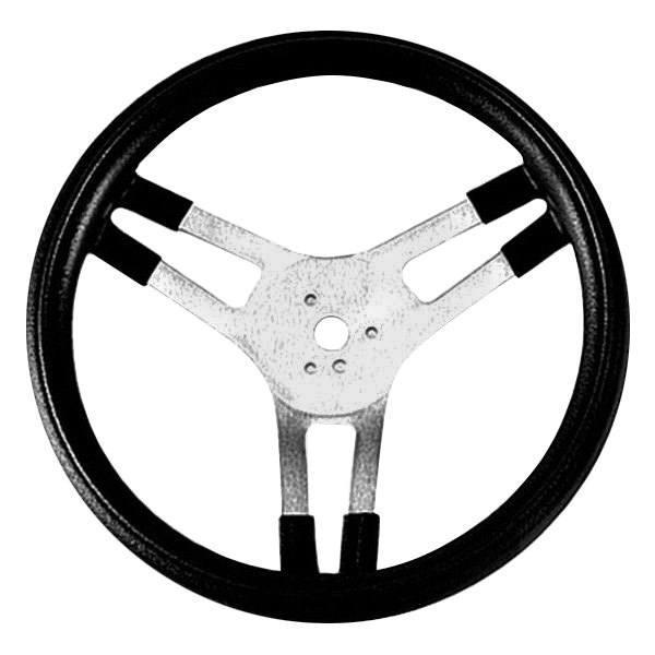 Grant® - 3-Spoke Brushed Aluminum Design Racing Style Steering Wheel with Black Cushioned Foam Grip