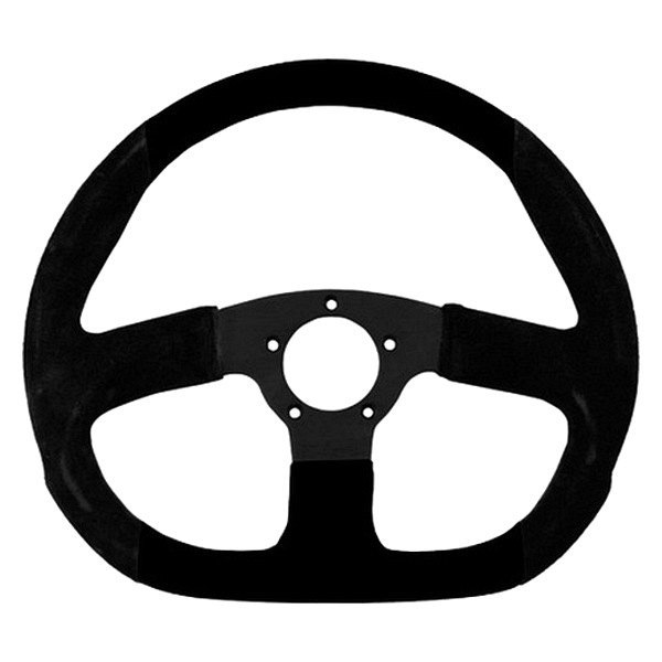 Grant® - 3-Spoke Black Anodized Aluminum Design Suede Series Steering Wheel with Black Suede D-Shaped Grip