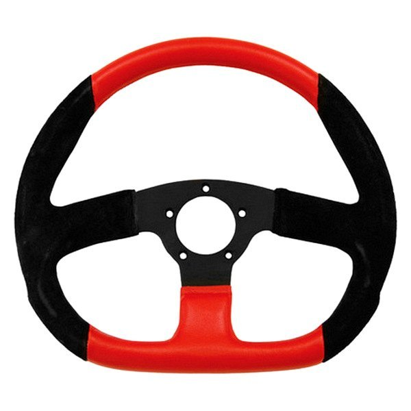 Grant® - 3-Spoke Black Anodized Aluminum Design Suede Series Steering Wheel with Black/Red Suede D-Shaped Grip