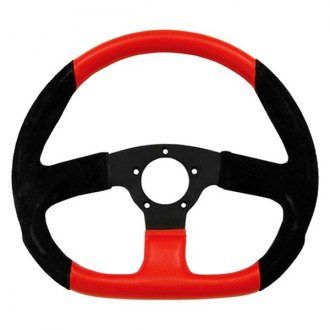Grant® - 3-Spoke Black Anodized Aluminum Design Suede Series Steering Wheel with Black/Red Suede D Shaped Grip