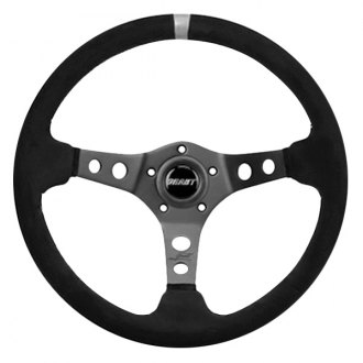 Grant® - 3-Spoke Aluminum Black Anodized Performance and Race Series Steering Wheel with Black Premium Ultra Suede Grip with Gray Top Marker