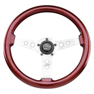 Grant® - 3-Spoke Satin Silver Aluminum Design GT Series Steering Wheel with Mahogany Wood Grip