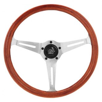 Grant® - 3-Spoke Polished Aluminum Design Mahogany Collectors Edition Steering Wheel with Mahogany Wood Grip