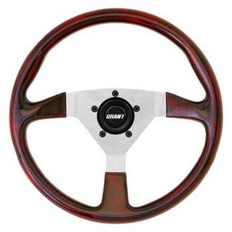 Grant® - 3-Spoke Polished Aluminum Design F/X Series Steering Wheel with Mahogany High Density Polyurethane Grip