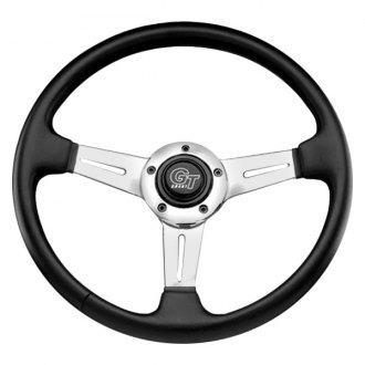 Grant® - 3-Spoke Polished Aluminum Design Elite GT Steering Wheel with Black Hand Stitched Leather Grained Vinyl Grip
