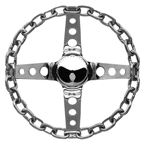 Grant® - 4-Spoke Chrome Steel Design Chain Series Steering Wheel with Chrome Chain Grip