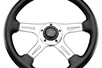 Grant® - 4-Spoke Polished Aluminum Design Elite GT Steering Wheel with Black Hand Stitched Leather Grained Vinyl Grip