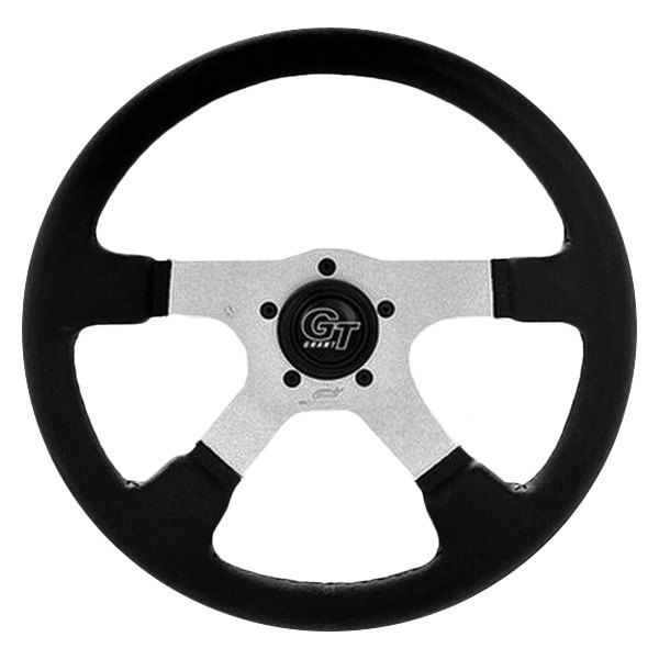 Grant® - 4-Spoke Silver Anodized Aluminum Design GT Rally Series Steering Wheel with Black Molded Polyurethane Grip and Leather Grain