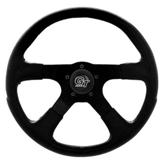 Grant® - 4-Spoke Silver Anodized Aluminum Design GT Rally Series Steering Wheel with Black Molded Polyurethane Grip with Leather Grain