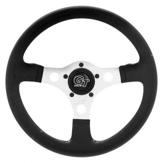Grant® - 3-Spoke Aluminum Silver Anodized Design Racing Style Steering Wheel with Perforated and Colorful Leather-Grained Vinyl Grip