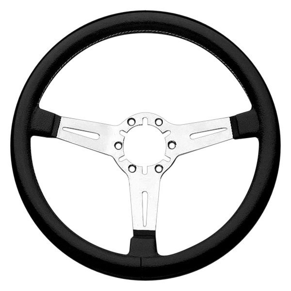 Grant® - 3-Spoke Silver Anodized Aluminum Design Corvette Style Steering Wheel with Black Hand Stiched Leather Grip