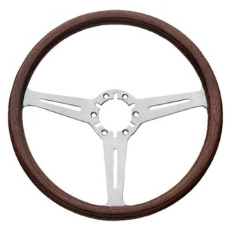 Grant® - 3-Spoke Silver Anodized Aluminum Design Corvette Style Steering Wheel with Mahogany Wood Grip