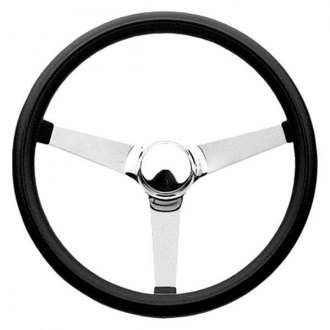 Grant® - 3-Spoke Chrome CRS Steel Design Classic Style Steering Wheel with Black Cushioned Foam Grip