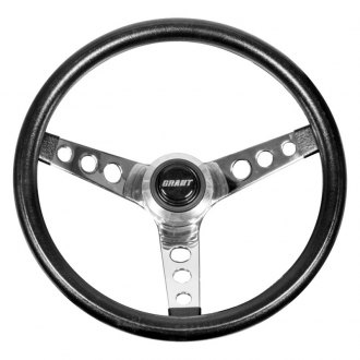 Grant® - 3-Spoke Chrome Classic Style Steering Wheel with Black Extra Thick Foam Cushion Grip