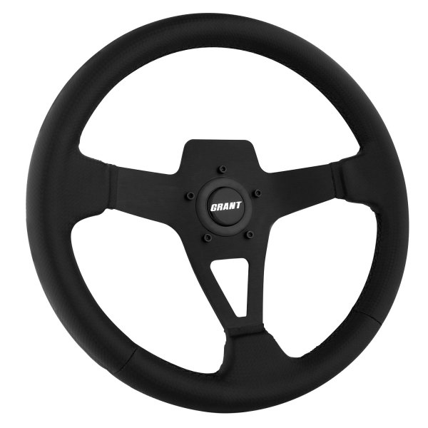 Grant® - 3-Spoke Black Design Edge Series Steering Wheel with Carbon Fiber Look Grip