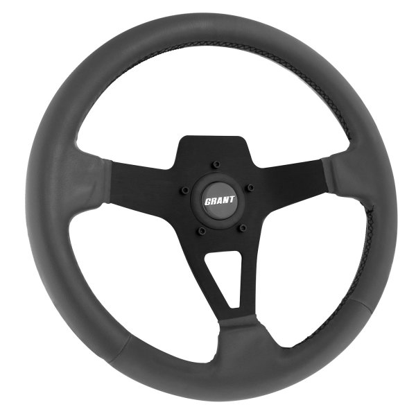 Grant® - 3-Spoke Black Design Edge Series Steering Wheel with Gray Vinyl Grip