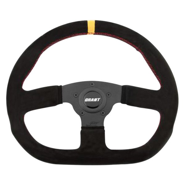 Grant® - 3-Spoke Black Design Suede Series Steering Wheel with Black D-Shaped Suede Grip and Yellow Top Marker