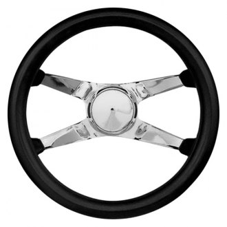 Grant® - 4-Spoke Chrome CRS Steel Design Classic Style Steering Wheel with Black Cushioned Foam Grip