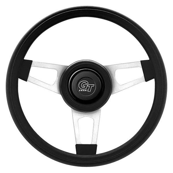 Grant® - 3-Spoke Satin Silver CRS Steel Design Challenger Style Steering Wheel with Black Cushioned Foam Grip