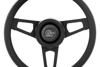 Grant® - 3-Spoke Black Powder Coated CRS Steel Design Challenger Style Steering Wheel with Black Cushioned Foam Grip